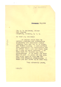 Letter from W. E. B. Du Bois to Gleaner
