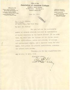 Letter from Association of American Colleges to W. E. B. Du Bois