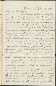 Letter from Robert Kinnicutt, Warren, [R.I.], to William Lloyd Garrison, Dec[ember] 3, 1859