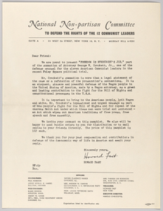 Letter from Howard Fast and the National Non-partisan Committee