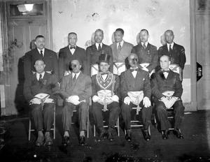 Masonic officers group : acetate film photonegative
