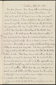Letter from Richard Davis Webb, Dublin, [Ireland], to Maria Weston Chapman, Sept. 15, 1871
