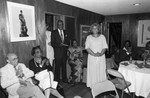 Jessie Mae Beavers speaking at an event in a private residence, Los Angeles, 1984