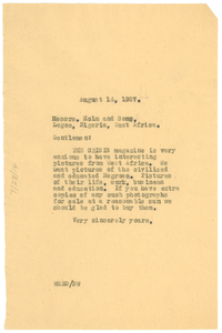 Letter from W. E. B. Du Bois to Holm and Sons