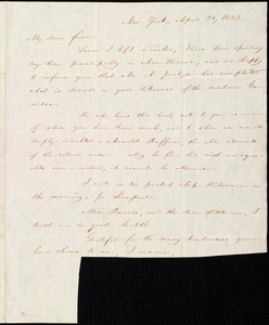 Letter from William Lloyd Garrison, New York, to Robert Purvis, April 30, 1833