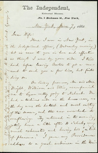 Letter from William Lloyd Garrison, The Independent, Editorial Rooms, No. 5 Beekman St., New York [City], New York, to Helen Eliza Garrison, [Wednesday morning], June 7, 1865