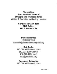 Black & Blue: Four Hundred Years of Struggle and Transcendence Sterling Houston Papers