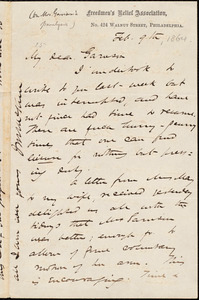 Letter from James Miller M'Kim, Philadelphia, [Pa.], to William Lloyd Garrison, Feb[ruary] 9th [1864]