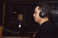 Charlie Chase of the Cold Crush Brothers recording a commercial for Funkmaster Flex, D&D Studios