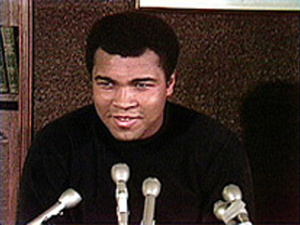 Muhammad Ali press conference at the Elma Lewis School of Fine Arts