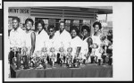 Group of African American men and women posing with tennis trophies, Los Angeles, ca. 1951-1960