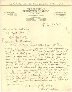 Letter from Thomas L. Dabney to W. E. B. Du Bois