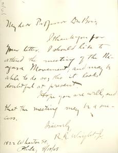 Letter from Richard Robert Wright, Jr. to W. E. B. Du Bois
