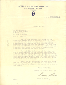 Letter from Albert & Charles Boni to W. E. B. Du Bois
