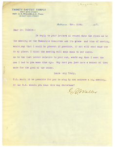 Letter from G. R. Waller to W. E. B. Du Bois