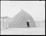 Wichita Indian grass hut. Oklahoma. Hut exhibited at World's Fair, St Louis, Missouri. U. S. Indian School. 1904