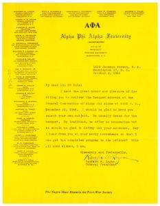 Letter from Alpha Phi Alpha Fraternity to W. E. B. Du Bois