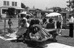Neighbors attending a block party, Los Angeles, 1987
