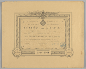 Certificate for French Croix de Guerre medal issued to Cpl. Lawrence L. McVey