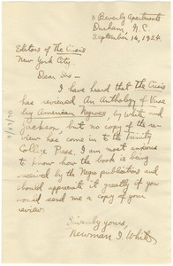 Letter from Newman I. White to the editors of The Crisis
