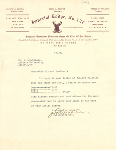 Letter from Imperial Lodge No. 127, Order of Elks, to W. E. B. Du Bois