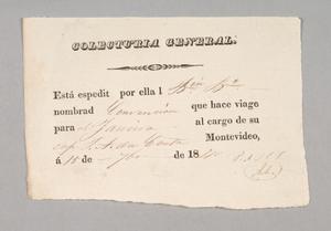 General Collection form for the Brazilian ship Convenção