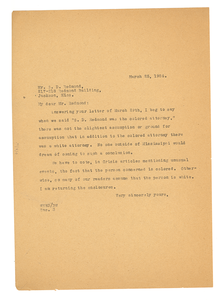 Letter from W. E. B. Du Bois to S. D. Redmond