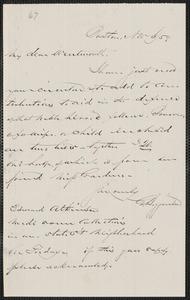 George Higginson autograph note signed to Thomas Wentworth Higginson, Boston, 6 November [18]59
