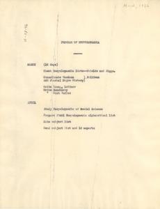 Program of Encyclopedia of the Negro