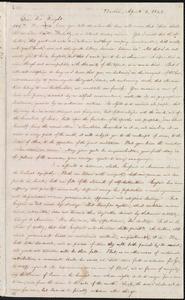 Letter from William Lloyd Garrison, Boston, [Mass.], to Henry Clarke Wright, April 1, 1843