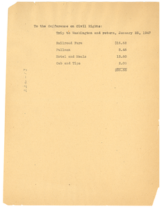 Invoice from W. E. B. Du Bois to National Lawyers Guild