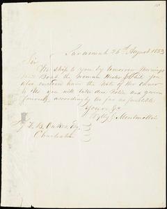 Wylly & Montmollin, Savannah, Ga., manuscript letter signed to Ziba B. Oakes, 26 August 1853