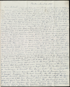 Letter from Anne Warren Weston, Boston [and] Cambridge, to Deborah Weston, March 30, 1839 [and] Thursday, April 4, [1839]