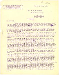 Letter from C. Sutter to W. E. B. Du Bois