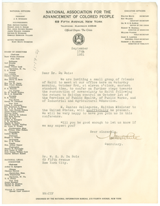 Letter from Walter White to W. E. B. Du Bois