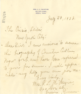 Letter from Mrs. L. L. McIntyre to the editor of The Crisis