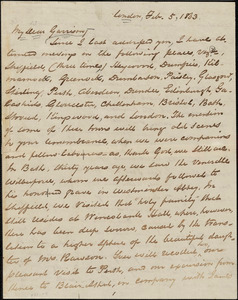 Letter from George Thompson, London, [England], to William Lloyd Garrison, 1863 Feb[ruary] 5
