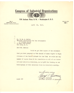 Letter from Congress of Industrial Organizations to W. E. B. Du Bois