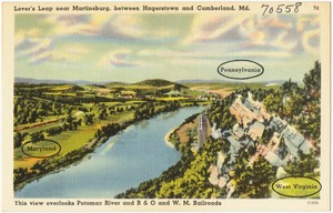 Lover's Leap near Martinsburg, between Hagerstown and Cumberland, Md. This view overlooks Potomac River & B & O and W. M. Railroads.