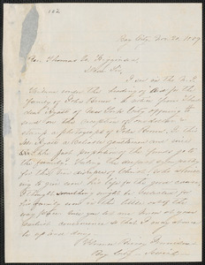 Florence Birney Jennison autograph letter signed to Thomas Wentworth Higginson, Bay City, [Mich.], 20 November 1859