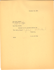 Letter from W. E. B. Du Bois to Miss Mary Abbott