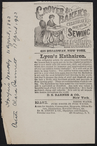 Advertisement for Grover & Baker's Celebrated Premium Sewing Machines, 495 Broadway, New York, New York, April 11, 1863