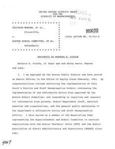 Affidavit of Barbara E. Fields