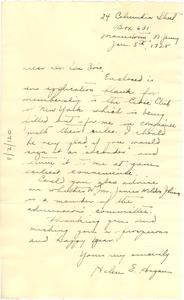 Letter from Helen E. Hagan to W. E. B. Du Bois