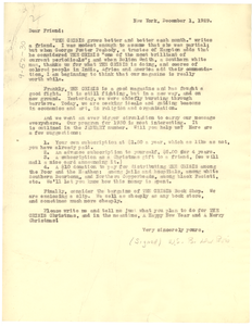 Circular letter from Crisis to unidentified correspondent