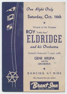 Advertisement for Roy Eldridge and his Orchestra at the Brant Inn, Burlington, Ontario, Canada