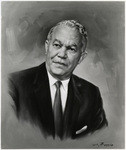 Detail view of portrait painting of architect Paul R. Williams
