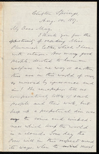Letter from Oliver Johnson, Clifton Spring, [N.Y.], to Samuel May, Aug. 14, 1887