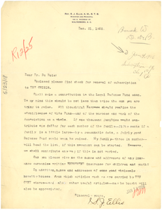 Letter from Rev. S. J. Ellis to W. E. B. Du Bois