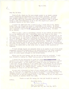Letter from Barbara Lindsay to W. E. B. Du Bois